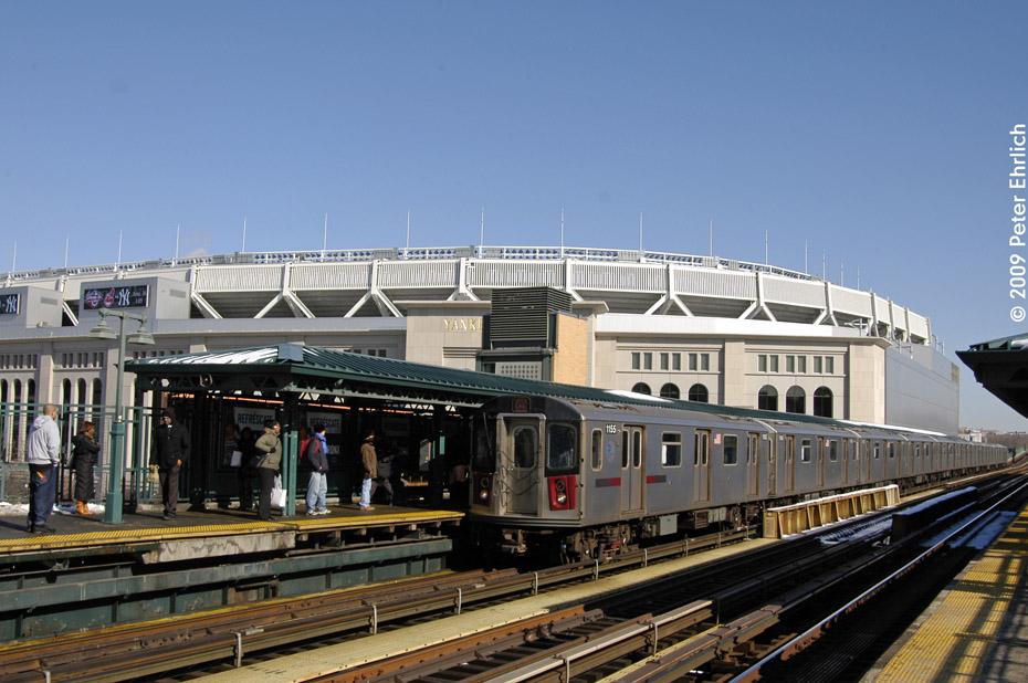 (207k, 930x618)<br><b>Country:</b> United States<br><b>City:</b> New York<br><b>System:</b> New York City Transit<br><b>Line:</b> IRT Woodlawn Line<br><b>Location:</b> 161st Street/River Avenue (Yankee Stadium) <br><b>Route:</b> 4<br><b>Car:</b> R-142 (Option Order, Bombardier, 2002-2003)  1155 <br><b>Photo by:</b> Peter Ehrlich<br><b>Date:</b> 3/4/2009<br><b>Notes:</b> Inbound.<br><b>Viewed (this week/total):</b> 2 / 1254