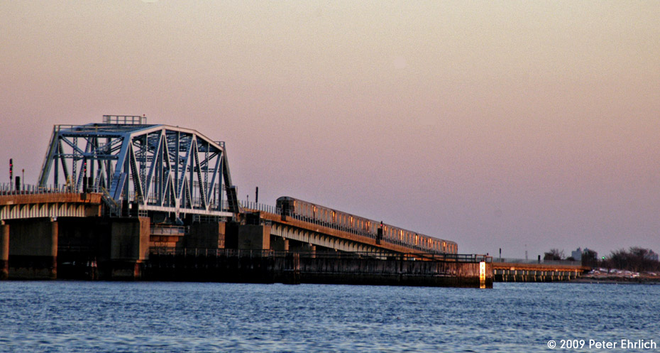 (166k, 930x497)<br><b>Country:</b> United States<br><b>City:</b> New York<br><b>System:</b> New York City Transit<br><b>Line:</b> IND Rockaway<br><b>Location:</b> North Channel Bridge <br><b>Route:</b> A<br><b>Car:</b> R-32 (Budd, 1964)  3688 <br><b>Photo by:</b> Peter Ehrlich<br><b>Date:</b> 3/4/2009<br><b>Notes:</b> Outbound.<br><b>Viewed (this week/total):</b> 0 / 1586