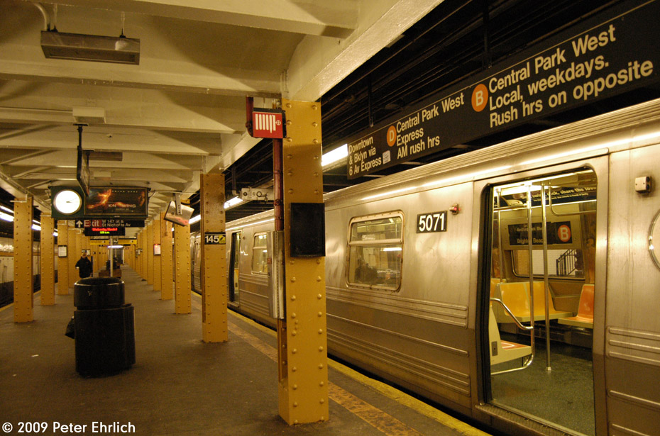 (236k, 930x615)<br><b>Country:</b> United States<br><b>City:</b> New York<br><b>System:</b> New York City Transit<br><b>Line:</b> IND Concourse Line<br><b>Location:</b> 145th Street <br><b>Route:</b> B<br><b>Car:</b> R-68A (Kawasaki, 1988-1989)  5071 <br><b>Photo by:</b> Peter Ehrlich<br><b>Date:</b> 3/4/2009<br><b>Viewed (this week/total):</b> 0 / 1519