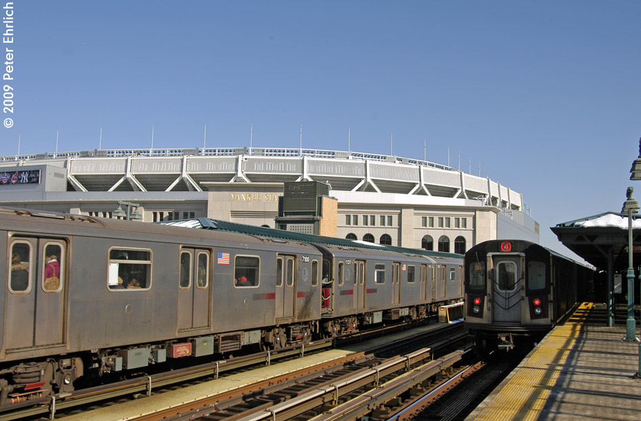 (197k, 930x610)<br><b>Country:</b> United States<br><b>City:</b> New York<br><b>System:</b> New York City Transit<br><b>Line:</b> IRT Woodlawn Line<br><b>Location:</b> 161st Street/River Avenue (Yankee Stadium) <br><b>Route:</b> 4<br><b>Car:</b> R-142 (Option Order, Bombardier, 2002-2003)  7100 <br><b>Photo by:</b> Peter Ehrlich<br><b>Date:</b> 3/4/2009<br><b>Notes:</b> Inbound. Coupled to 1121.<br><b>Viewed (this week/total):</b> 1 / 1451