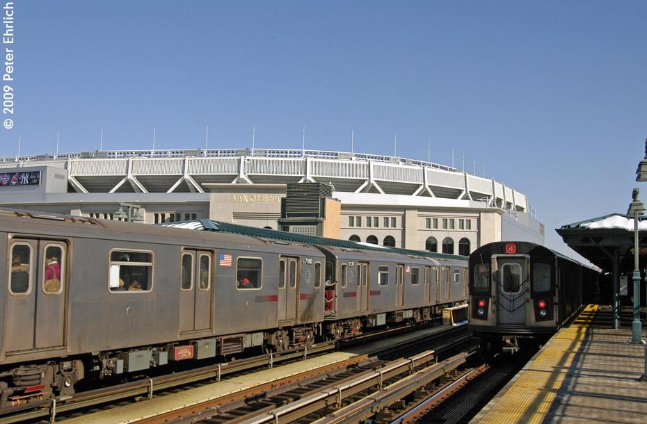 (197k, 930x610)<br><b>Country:</b> United States<br><b>City:</b> New York<br><b>System:</b> New York City Transit<br><b>Line:</b> IRT Woodlawn Line<br><b>Location:</b> 161st Street/River Avenue (Yankee Stadium) <br><b>Route:</b> 4<br><b>Car:</b> R-142 (Option Order, Bombardier, 2002-2003)  7100 <br><b>Photo by:</b> Peter Ehrlich<br><b>Date:</b> 3/4/2009<br><b>Notes:</b> Inbound. Coupled to 1121.<br><b>Viewed (this week/total):</b> 0 / 1460