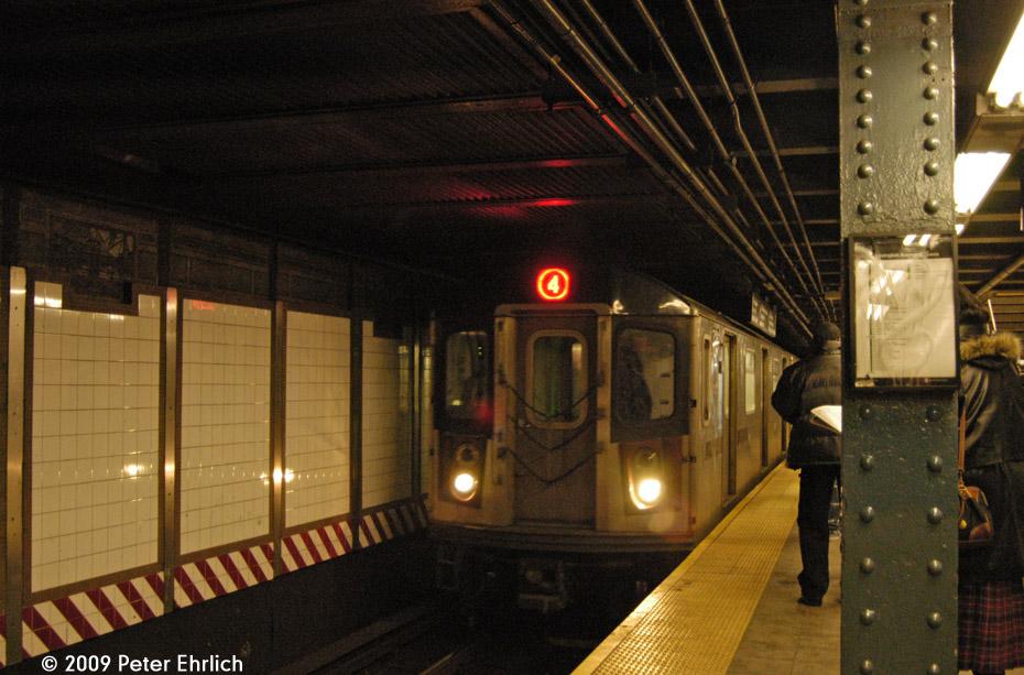 (216k, 930x613)<br><b>Country:</b> United States<br><b>City:</b> New York<br><b>System:</b> New York City Transit<br><b>Line:</b> IRT East Side Line<br><b>Location:</b> 125th Street <br><b>Route:</b> 4<br><b>Car:</b> R-142 (Option Order, Bombardier, 2002-2003)  7161 <br><b>Photo by:</b> Peter Ehrlich<br><b>Date:</b> 3/4/2009<br><b>Notes:</b> Outbound.<br><b>Viewed (this week/total):</b> 1 / 2440