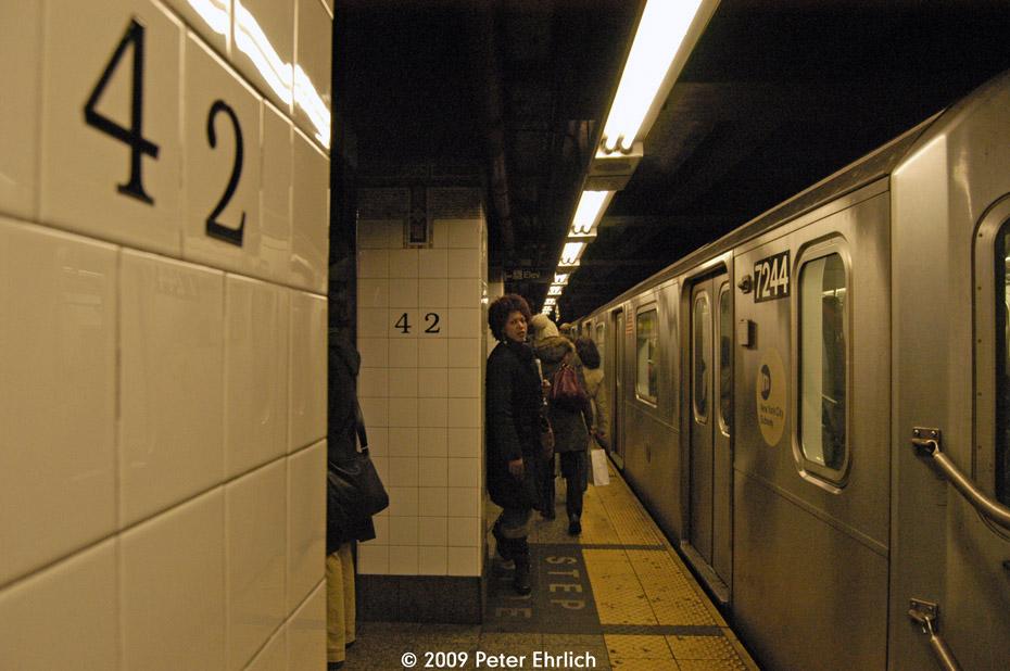 (187k, 930x618)<br><b>Country:</b> United States<br><b>City:</b> New York<br><b>System:</b> New York City Transit<br><b>Line:</b> IRT East Side Line<br><b>Location:</b> Grand Central <br><b>Car:</b> R-142A (Primary Order, Kawasaki, 1999-2002)  7244 <br><b>Photo by:</b> Peter Ehrlich<br><b>Date:</b> 3/4/2009<br><b>Notes:</b> Inbound.<br><b>Viewed (this week/total):</b> 0 / 1248