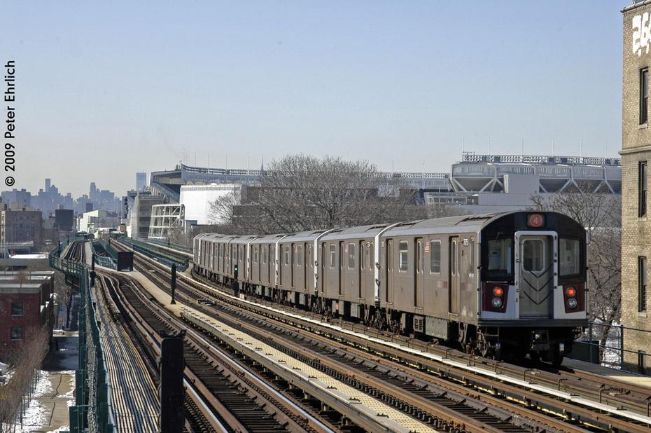 (227k, 930x618)<br><b>Country:</b> United States<br><b>City:</b> New York<br><b>System:</b> New York City Transit<br><b>Line:</b> IRT Woodlawn Line<br><b>Location:</b> 167th Street <br><b>Route:</b> 4<br><b>Car:</b> R-142A (Option Order, Kawasaki, 2002-2003)  7675 <br><b>Photo by:</b> Peter Ehrlich<br><b>Date:</b> 3/4/2009<br><b>Notes:</b> Inbound. Departing train toward 161st.<br><b>Viewed (this week/total):</b> 0 / 1613
