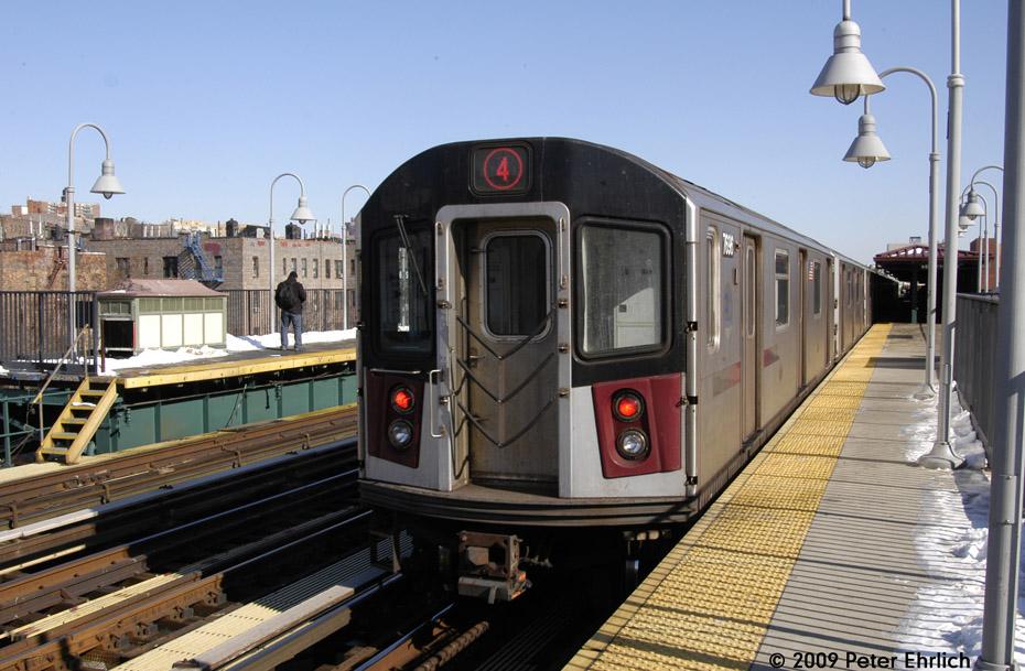 (213k, 930x609)<br><b>Country:</b> United States<br><b>City:</b> New York<br><b>System:</b> New York City Transit<br><b>Line:</b> IRT Woodlawn Line<br><b>Location:</b> 161st Street/River Avenue (Yankee Stadium) <br><b>Route:</b> 4<br><b>Car:</b> R-142A (Option Order, Kawasaki, 2002-2003)  7696 <br><b>Photo by:</b> Peter Ehrlich<br><b>Date:</b> 3/4/2009<br><b>Notes:</b> Outbound.<br><b>Viewed (this week/total):</b> 0 / 1036