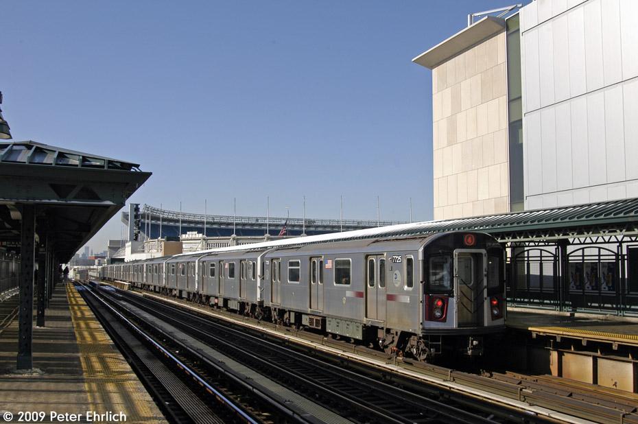 (190k, 930x618)<br><b>Country:</b> United States<br><b>City:</b> New York<br><b>System:</b> New York City Transit<br><b>Line:</b> IRT Woodlawn Line<br><b>Location:</b> 161st Street/River Avenue (Yankee Stadium) <br><b>Route:</b> 4<br><b>Car:</b> R-142A (Option Order, Kawasaki, 2002-2003)  7725 <br><b>Photo by:</b> Peter Ehrlich<br><b>Date:</b> 3/4/2009<br><b>Notes:</b> Inbound.<br><b>Viewed (this week/total):</b> 0 / 1121
