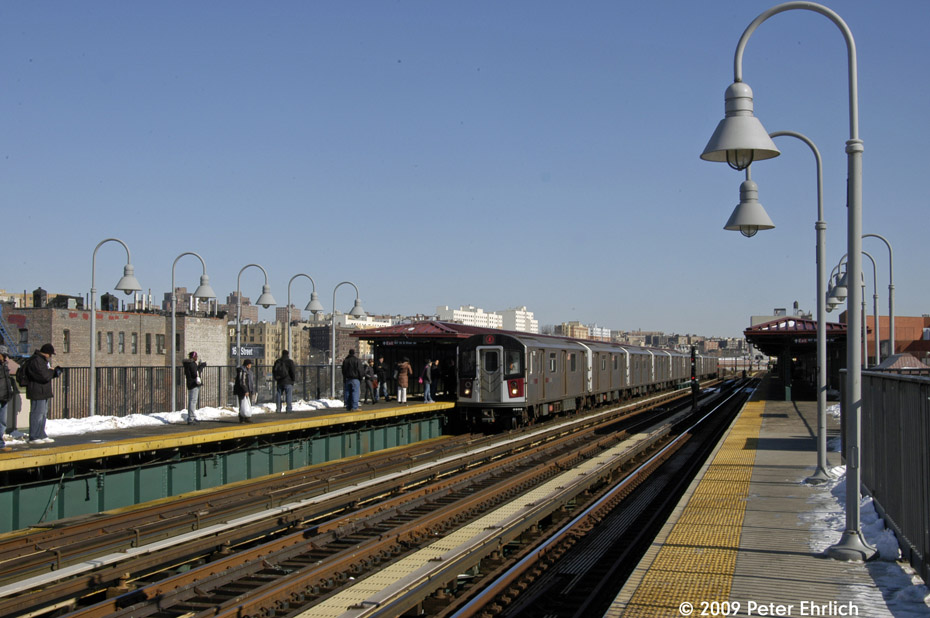 (190k, 930x618)<br><b>Country:</b> United States<br><b>City:</b> New York<br><b>System:</b> New York City Transit<br><b>Line:</b> IRT Woodlawn Line<br><b>Location:</b> 167th Street <br><b>Route:</b> 4<br><b>Car:</b> R-142A (Supplemental Order, Kawasaki, 2003-2004)  7801 <br><b>Photo by:</b> Peter Ehrlich<br><b>Date:</b> 3/4/2009<br><b>Notes:</b> Inbound. Arriving train.<br><b>Viewed (this week/total):</b> 0 / 1693