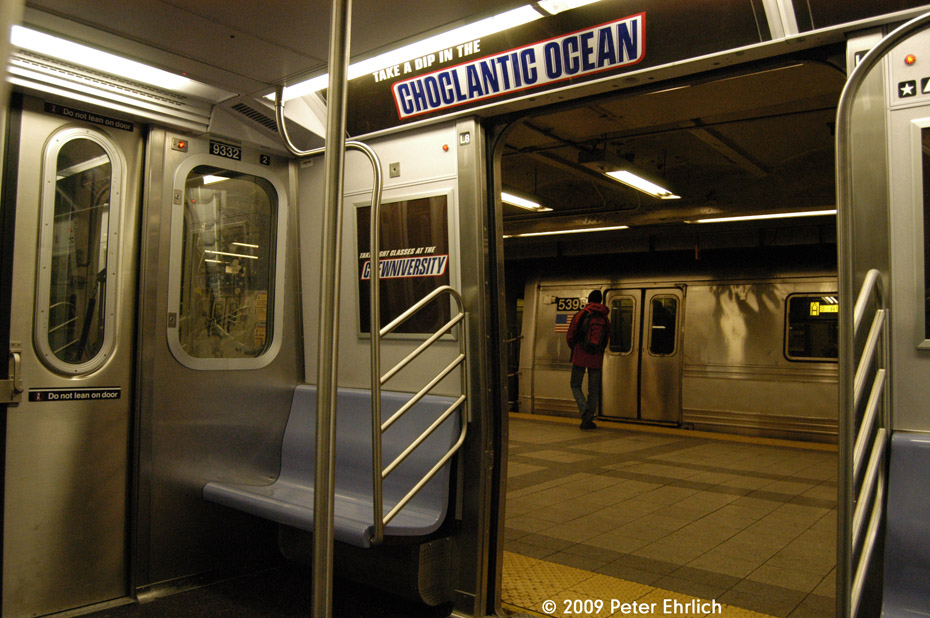 (222k, 930x618)<br><b>Country:</b> United States<br><b>City:</b> New York<br><b>System:</b> New York City Transit<br><b>Line:</b> IND 8th Avenue Line<br><b>Location:</b> Canal Street-Holland Tunnel <br><b>Route:</b> E<br><b>Car:</b> R-160A (Option 1) (Alstom, 2008-2009, 5 car sets)  9332 <br><b>Photo by:</b> Peter Ehrlich<br><b>Date:</b> 3/4/2009<br><b>Notes:</b> Inbound. Interior of 9332.  With R44 5398 on express track in background.<br><b>Viewed (this week/total):</b> 0 / 2536