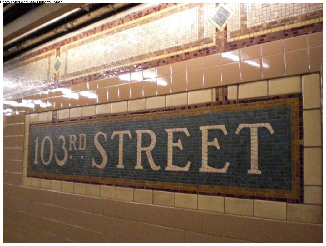 (244k, 1044x788)<br><b>Country:</b> United States<br><b>City:</b> New York<br><b>System:</b> New York City Transit<br><b>Line:</b> IRT East Side Line<br><b>Location:</b> 103rd Street <br><b>Photo by:</b> Roberto C. Tobar<br><b>Date:</b> 3/6/2009<br><b>Notes:</b> Station name mosaic.<br><b>Viewed (this week/total):</b> 5 / 1216