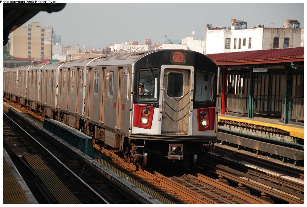 (281k, 1044x705)<br><b>Country:</b> United States<br><b>City:</b> New York<br><b>System:</b> New York City Transit<br><b>Line:</b> IRT Woodlawn Line<br><b>Location:</b> 176th Street <br><b>Route:</b> 4<br><b>Car:</b> R-142A (Option Order, Kawasaki, 2002-2003)  7721 <br><b>Photo by:</b> Robert Taylor<br><b>Date:</b> 6/6/2008<br><b>Viewed (this week/total):</b> 0 / 1734
