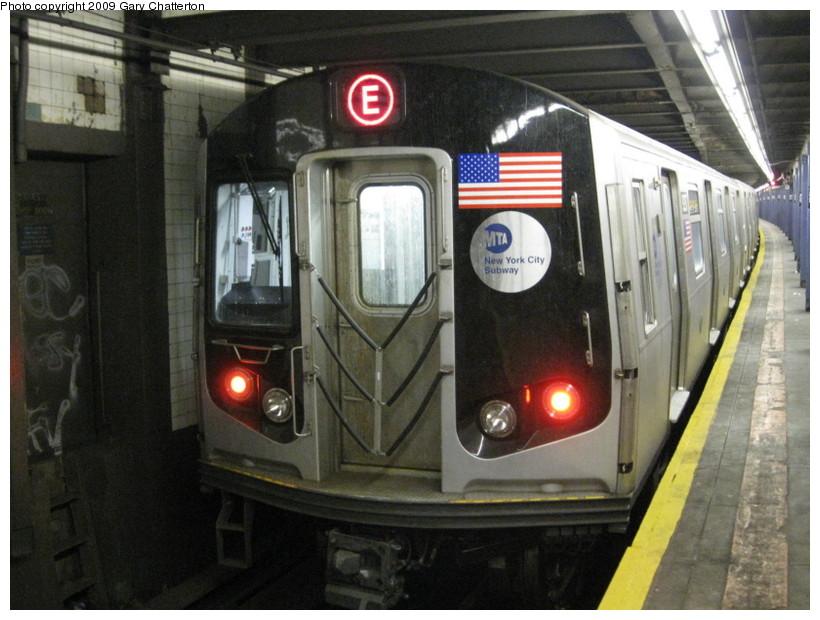 (135k, 820x620)<br><b>Country:</b> United States<br><b>City:</b> New York<br><b>System:</b> New York City Transit<br><b>Line:</b> IND Queens Boulevard Line<br><b>Location:</b> 50th Street <br><b>Route:</b> E<br><b>Car:</b> R-160A (Option 1) (Alstom, 2008-2009, 5 car sets)  9297 <br><b>Photo by:</b> Gary Chatterton<br><b>Date:</b> 3/13/2009<br><b>Viewed (this week/total):</b> 2 / 2127