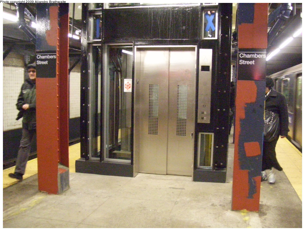 (254k, 1044x791)<br><b>Country:</b> United States<br><b>City:</b> New York<br><b>System:</b> New York City Transit<br><b>Line:</b> IRT West Side Line<br><b>Location:</b> Chambers Street <br><b>Photo by:</b> Aliandro Brathwaite<br><b>Date:</b> 3/10/2009<br><b>Notes:</b> New elevator installation.<br><b>Viewed (this week/total):</b> 1 / 1490
