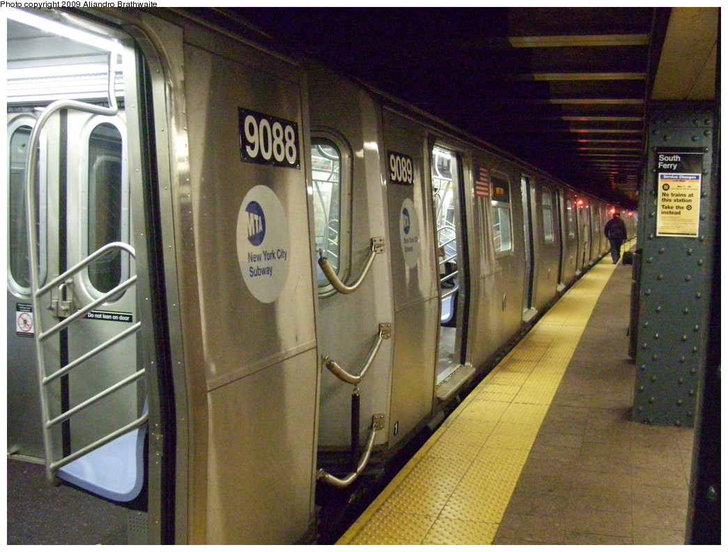 (271k, 1044x791)<br><b>Country:</b> United States<br><b>City:</b> New York<br><b>System:</b> New York City Transit<br><b>Line:</b> BMT Broadway Line<br><b>Location:</b> Whitehall Street <br><b>Route:</b> W<br><b>Car:</b> R-160B (Option 1) (Kawasaki, 2008-2009)  9089 <br><b>Photo by:</b> Aliandro Brathwaite<br><b>Date:</b> 3/10/2009<br><b>Viewed (this week/total):</b> 0 / 1649