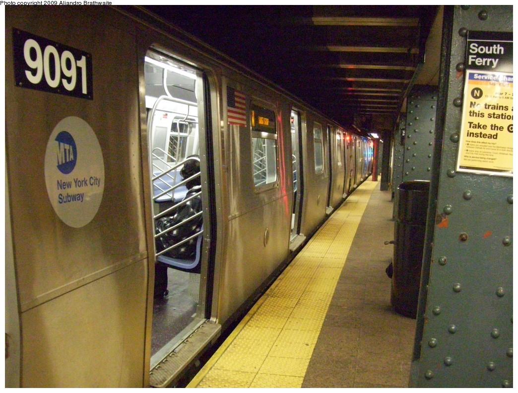 (277k, 1044x791)<br><b>Country:</b> United States<br><b>City:</b> New York<br><b>System:</b> New York City Transit<br><b>Line:</b> BMT Broadway Line<br><b>Location:</b> Whitehall Street <br><b>Route:</b> W<br><b>Car:</b> R-160B (Option 1) (Kawasaki, 2008-2009)  9091 <br><b>Photo by:</b> Aliandro Brathwaite<br><b>Date:</b> 3/10/2009<br><b>Viewed (this week/total):</b> 1 / 1798