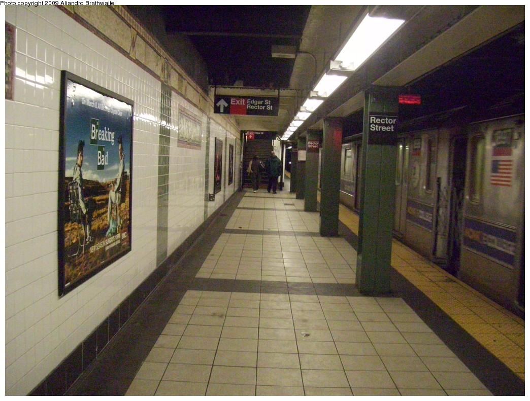 (262k, 1044x791)<br><b>Country:</b> United States<br><b>City:</b> New York<br><b>System:</b> New York City Transit<br><b>Line:</b> IRT West Side Line<br><b>Location:</b> Rector Street <br><b>Route:</b> 1<br><b>Car:</b> R-62A (Bombardier, 1984-1987)  1897 <br><b>Photo by:</b> Aliandro Brathwaite<br><b>Date:</b> 3/10/2009<br><b>Viewed (this week/total):</b> 1 / 1949