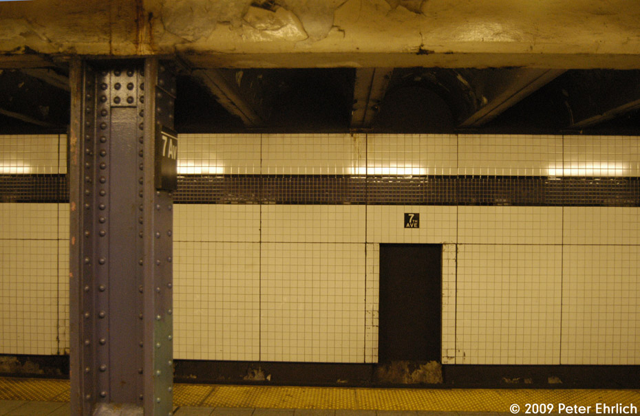 (190k, 930x605)<br><b>Country:</b> United States<br><b>City:</b> New York<br><b>System:</b> New York City Transit<br><b>Line:</b> IND Queens Boulevard Line<br><b>Location:</b> 7th Avenue/53rd Street <br><b>Photo by:</b> Peter Ehrlich<br><b>Date:</b> 3/4/2009<br><b>Notes:</b> Tilework.<br><b>Viewed (this week/total):</b> 2 / 1376