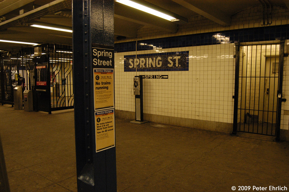 (221k, 930x618)<br><b>Country:</b> United States<br><b>City:</b> New York<br><b>System:</b> New York City Transit<br><b>Line:</b> IND 8th Avenue Line<br><b>Location:</b> Spring Street <br><b>Photo by:</b> Peter Ehrlich<br><b>Date:</b> 3/4/2009<br><b>Notes:</b> Tilework and fare control, inbound platform.<br><b>Viewed (this week/total):</b> 2 / 1077