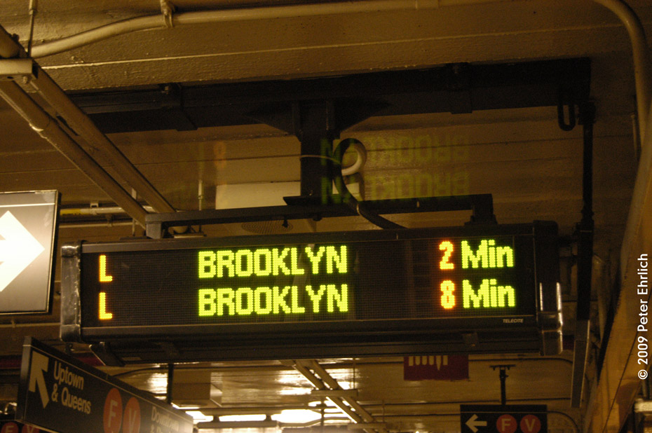 (201k, 930x618)<br><b>Country:</b> United States<br><b>City:</b> New York<br><b>System:</b> New York City Transit<br><b>Line:</b> BMT Canarsie Line<br><b>Location:</b> 6th Avenue <br><b>Photo by:</b> Peter Ehrlich<br><b>Date:</b> 3/4/2009<br><b>Notes:</b> New Train Announcement Display Board.<br><b>Viewed (this week/total):</b> 1 / 847