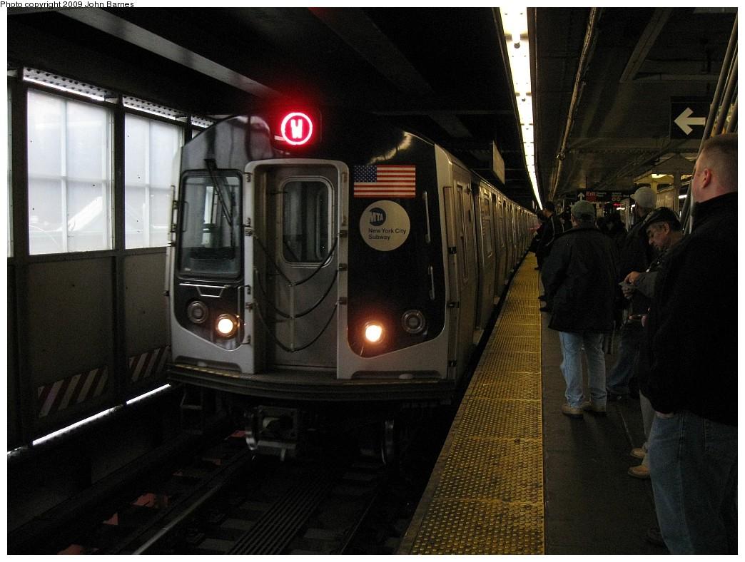 (210k, 1044x788)<br><b>Country:</b> United States<br><b>City:</b> New York<br><b>System:</b> New York City Transit<br><b>Line:</b> BMT Astoria Line<br><b>Location:</b> Queensborough Plaza <br><b>Route:</b> W<br><b>Car:</b> R-160A-2 (Alstom, 2005-2008, 5 car sets)  8653 <br><b>Photo by:</b> John Barnes<br><b>Date:</b> 3/9/2009<br><b>Viewed (this week/total):</b> 0 / 1808