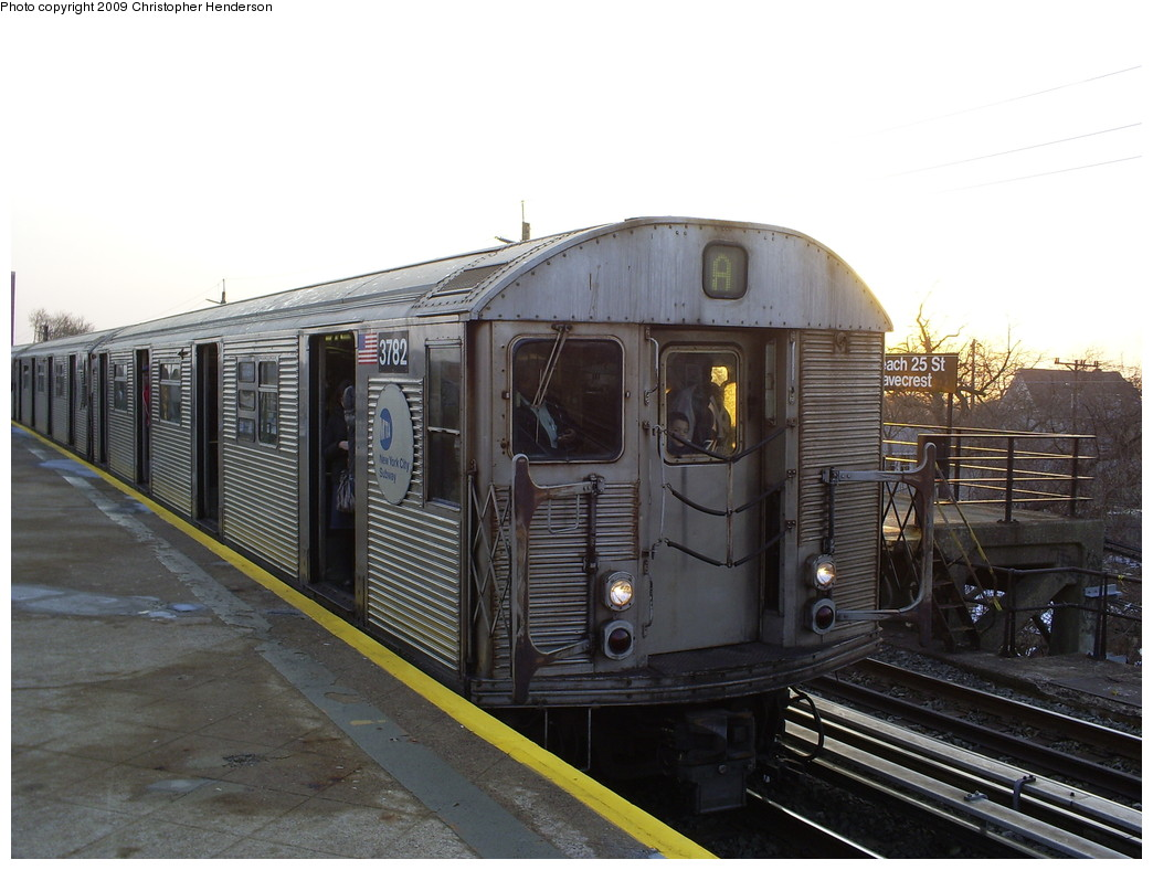 (233k, 1044x788)<br><b>Country:</b> United States<br><b>City:</b> New York<br><b>System:</b> New York City Transit<br><b>Line:</b> IND Rockaway<br><b>Location:</b> Beach 25th Street/Wavecrest <br><b>Route:</b> A<br><b>Car:</b> R-32 (Budd, 1964)  3782 <br><b>Photo by:</b> Christopher Henderson<br><b>Date:</b> 3/6/2009<br><b>Viewed (this week/total):</b> 0 / 1252