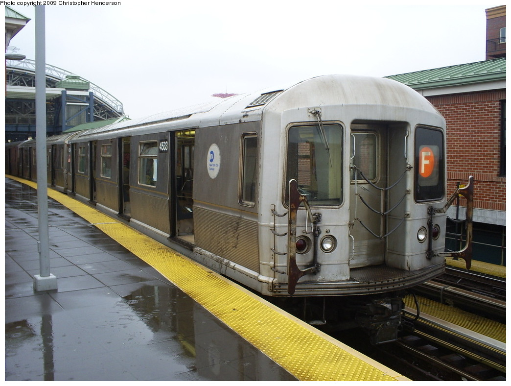 (253k, 1044x788)<br><b>Country:</b> United States<br><b>City:</b> New York<br><b>System:</b> New York City Transit<br><b>Location:</b> Coney Island/Stillwell Avenue<br><b>Route:</b> F<br><b>Car:</b> R-40M (St. Louis, 1969)  4533 <br><b>Photo by:</b> Christopher Henderson<br><b>Date:</b> 2/14/2009<br><b>Viewed (this week/total):</b> 1 / 1312