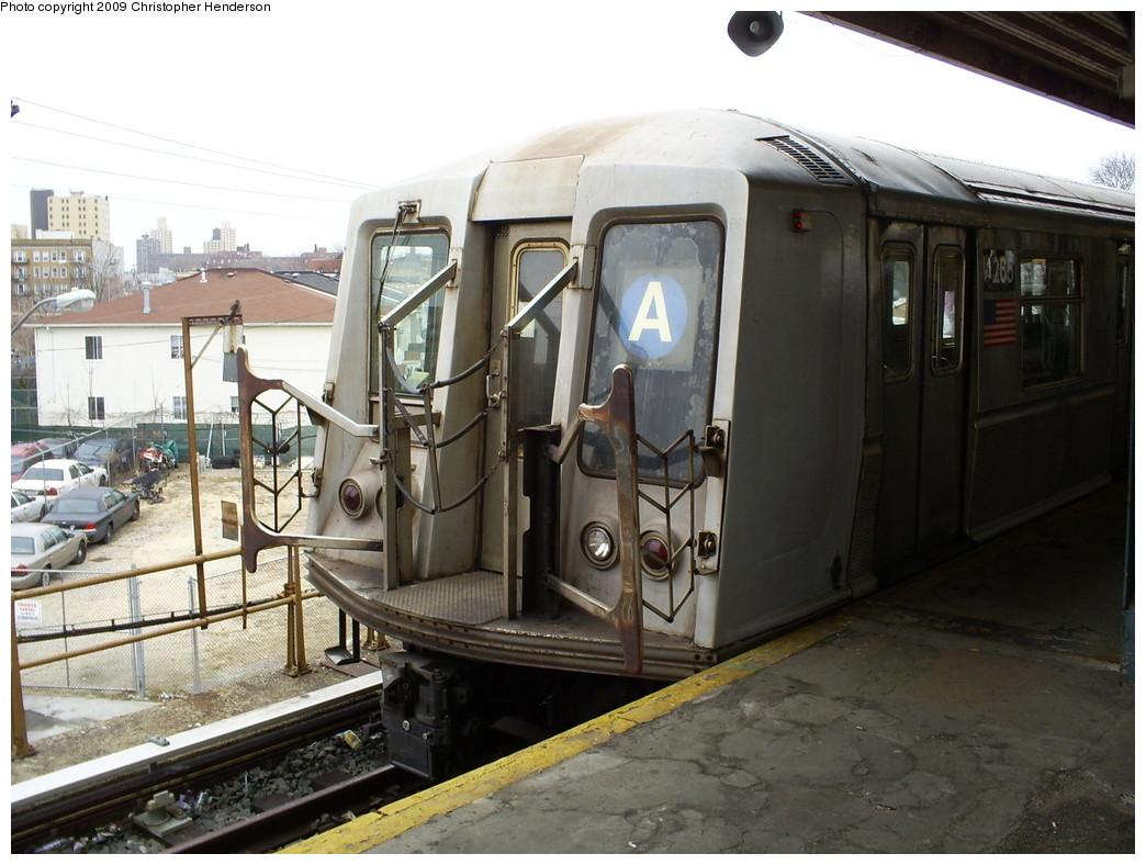 (250k, 1044x788)<br><b>Country:</b> United States<br><b>City:</b> New York<br><b>System:</b> New York City Transit<br><b>Line:</b> IND Rockaway<br><b>Location:</b> Mott Avenue/Far Rockaway <br><b>Route:</b> A<br><b>Car:</b> R-40 (St. Louis, 1968)  4265 <br><b>Photo by:</b> Christopher Henderson<br><b>Date:</b> 3/1/2009<br><b>Viewed (this week/total):</b> 1 / 859