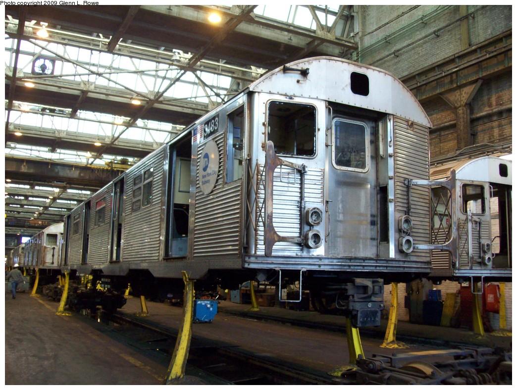 (264k, 1044x788)<br><b>Country:</b> United States<br><b>City:</b> New York<br><b>System:</b> New York City Transit<br><b>Location:</b> 207th Street Shop<br><b>Car:</b> R-32 (Budd, 1964)  3483 <br><b>Photo by:</b> Glenn L. Rowe<br><b>Date:</b> 3/10/2009<br><b>Notes:</b> Scrap<br><b>Viewed (this week/total):</b> 0 / 752