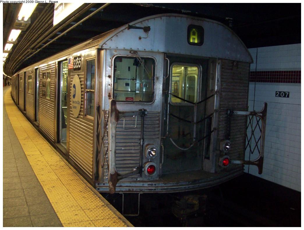 (215k, 1044x788)<br><b>Country:</b> United States<br><b>City:</b> New York<br><b>System:</b> New York City Transit<br><b>Line:</b> IND 8th Avenue Line<br><b>Location:</b> 207th Street <br><b>Route:</b> A<br><b>Car:</b> R-32 (Budd, 1964)  3355 <br><b>Photo by:</b> Glenn L. Rowe<br><b>Date:</b> 3/10/2009<br><b>Viewed (this week/total):</b> 0 / 922
