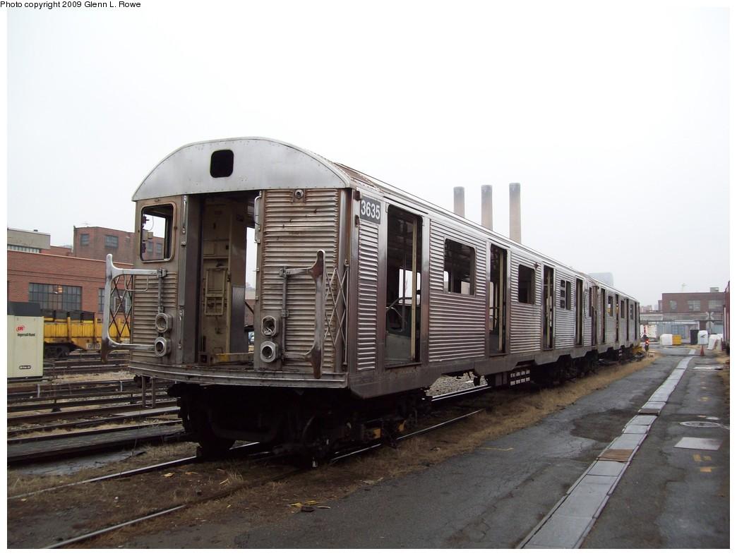 (178k, 1044x788)<br><b>Country:</b> United States<br><b>City:</b> New York<br><b>System:</b> New York City Transit<br><b>Location:</b> 207th Street Yard<br><b>Car:</b> R-32 (Budd, 1964)  3635 <br><b>Photo by:</b> Glenn L. Rowe<br><b>Date:</b> 3/11/2009<br><b>Notes:</b> Scrap<br><b>Viewed (this week/total):</b> 0 / 818