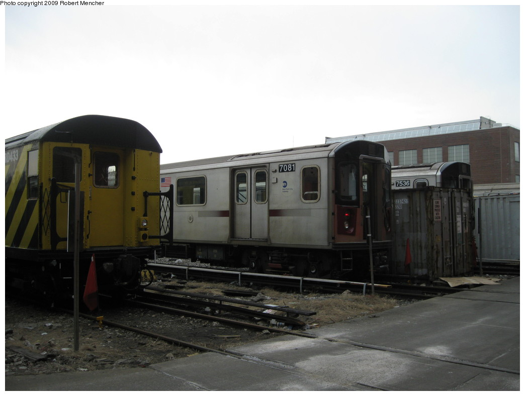 (148k, 1044x788)<br><b>Country:</b> United States<br><b>City:</b> New York<br><b>System:</b> New York City Transit<br><b>Location:</b> 207th Street Yard<br><b>Car:</b> R-142 (Option Order, Bombardier, 2002-2003)  7081 <br><b>Photo by:</b> Robert Mencher<br><b>Date:</b> 3/7/2009<br><b>Viewed (this week/total):</b> 3 / 1051