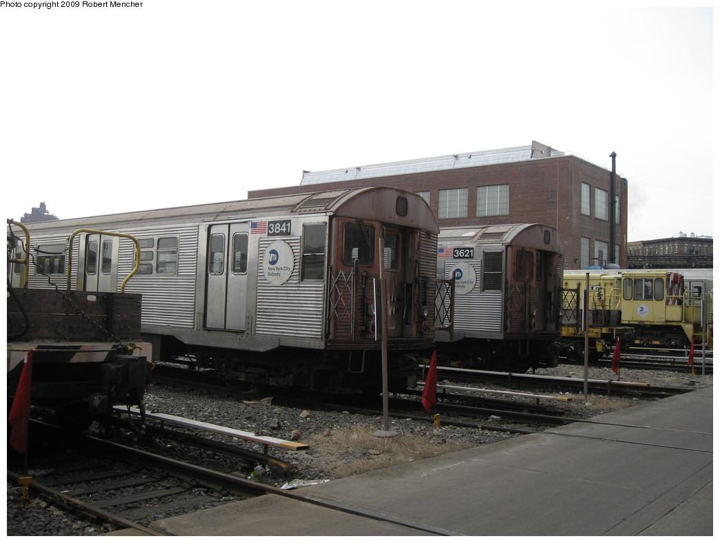 (169k, 1044x788)<br><b>Country:</b> United States<br><b>City:</b> New York<br><b>System:</b> New York City Transit<br><b>Location:</b> 207th Street Yard<br><b>Car:</b> R-32 (Budd, 1964)  3841/3621 <br><b>Photo by:</b> Robert Mencher<br><b>Date:</b> 3/7/2009<br><b>Viewed (this week/total):</b> 2 / 866