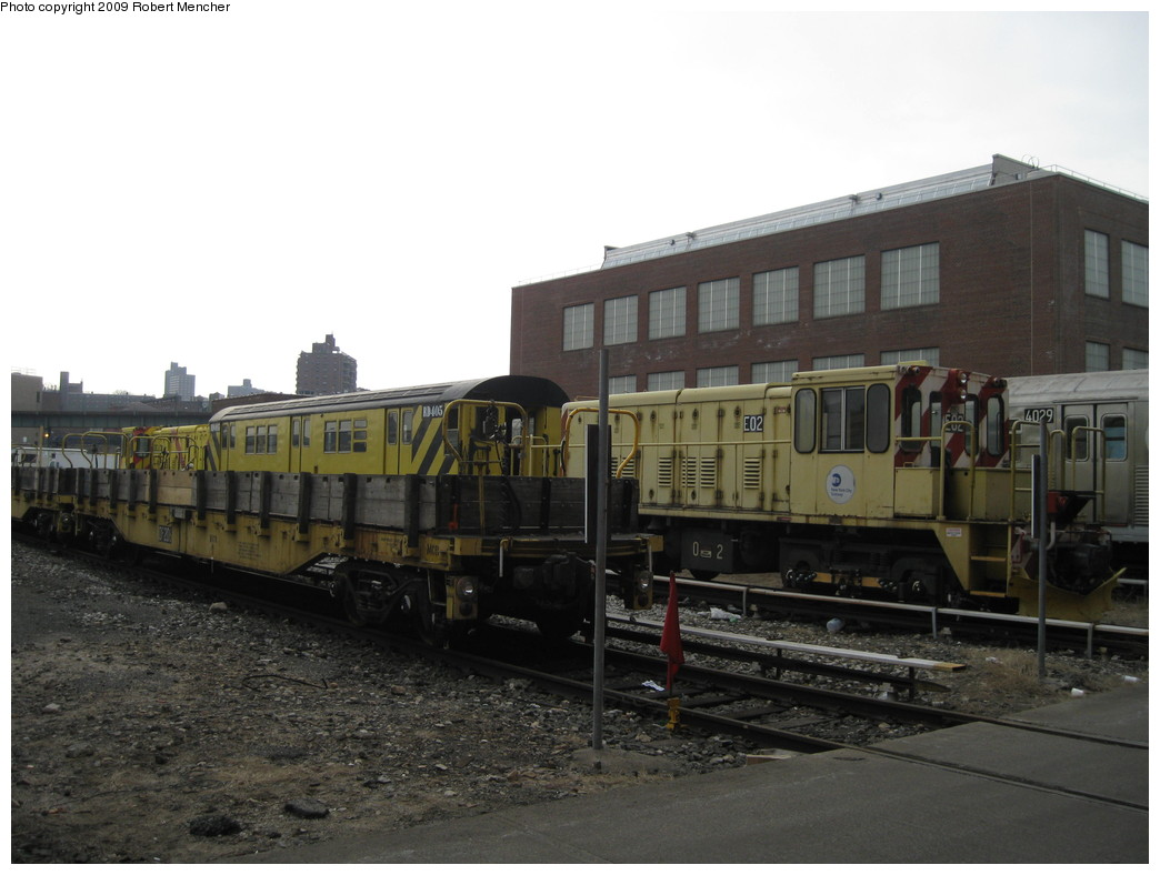 (175k, 1044x788)<br><b>Country:</b> United States<br><b>City:</b> New York<br><b>System:</b> New York City Transit<br><b>Location:</b> 207th Street Yard<br><b>Car:</b> R-77E Locomotive  E02 <br><b>Photo by:</b> Robert Mencher<br><b>Date:</b> 3/7/2009<br><b>Viewed (this week/total):</b> 1 / 821