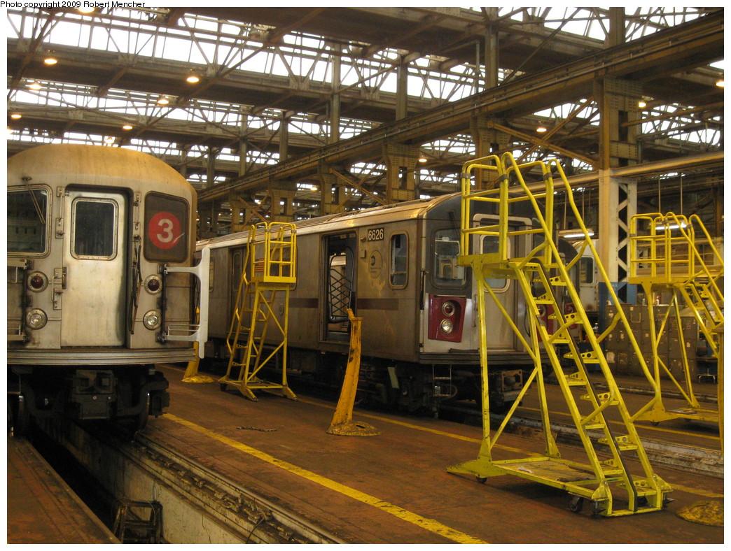 (308k, 1044x788)<br><b>Country:</b> United States<br><b>City:</b> New York<br><b>System:</b> New York City Transit<br><b>Location:</b> 207th Street Shop<br><b>Car:</b> R-142 (Primary Order, Bombardier, 1999-2002)  6626 <br><b>Photo by:</b> Robert Mencher<br><b>Date:</b> 3/7/2009<br><b>Viewed (this week/total):</b> 1 / 1127