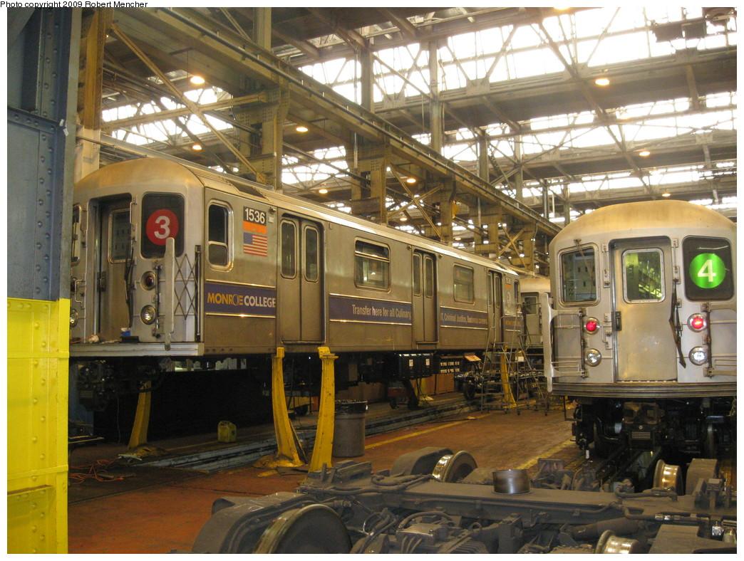 (274k, 1044x788)<br><b>Country:</b> United States<br><b>City:</b> New York<br><b>System:</b> New York City Transit<br><b>Location:</b> 207th Street Shop<br><b>Car:</b> R-62 (Kawasaki, 1983-1985)  1536 <br><b>Photo by:</b> Robert Mencher<br><b>Date:</b> 3/7/2009<br><b>Viewed (this week/total):</b> 0 / 1087