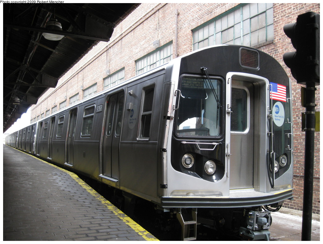 (246k, 1044x788)<br><b>Country:</b> United States<br><b>City:</b> New York<br><b>System:</b> New York City Transit<br><b>Location:</b> 207th Street Yard<br><b>Car:</b> R-160A (Option 1) (Alstom, 2008-2009, 5 car sets)  9368 <br><b>Photo by:</b> Robert Mencher<br><b>Date:</b> 3/7/2009<br><b>Viewed (this week/total):</b> 0 / 1447