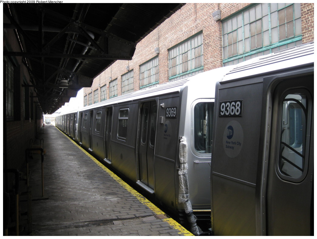 (208k, 1044x788)<br><b>Country:</b> United States<br><b>City:</b> New York<br><b>System:</b> New York City Transit<br><b>Location:</b> 207th Street Yard<br><b>Car:</b> R-160A (Option 1) (Alstom, 2008-2009, 5 car sets)  9369 <br><b>Photo by:</b> Robert Mencher<br><b>Date:</b> 3/7/2009<br><b>Viewed (this week/total):</b> 2 / 1153