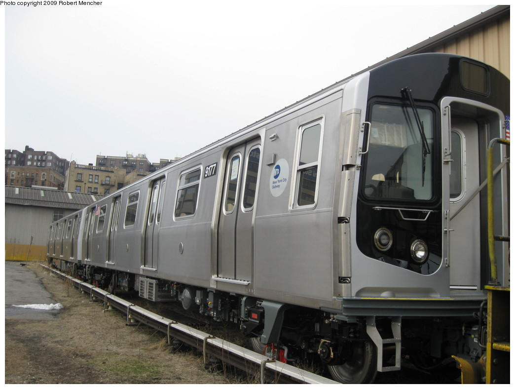 (177k, 1044x788)<br><b>Country:</b> United States<br><b>City:</b> New York<br><b>System:</b> New York City Transit<br><b>Location:</b> 207th Street Yard<br><b>Car:</b> R-160B (Option 1) (Kawasaki, 2008-2009)  9177 <br><b>Photo by:</b> Robert Mencher<br><b>Date:</b> 3/7/2009<br><b>Viewed (this week/total):</b> 0 / 1084