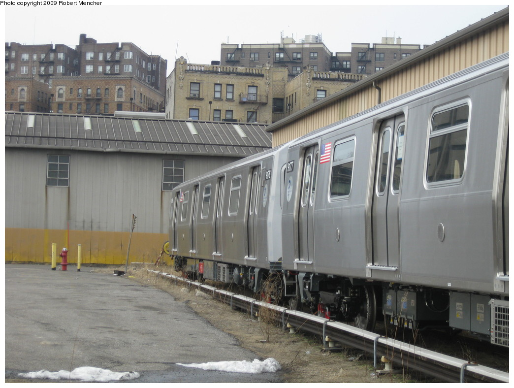(212k, 1044x788)<br><b>Country:</b> United States<br><b>City:</b> New York<br><b>System:</b> New York City Transit<br><b>Location:</b> 207th Street Yard<br><b>Car:</b> R-160B (Option 1) (Kawasaki, 2008-2009)  9176 <br><b>Photo by:</b> Robert Mencher<br><b>Date:</b> 3/7/2009<br><b>Viewed (this week/total):</b> 2 / 1404