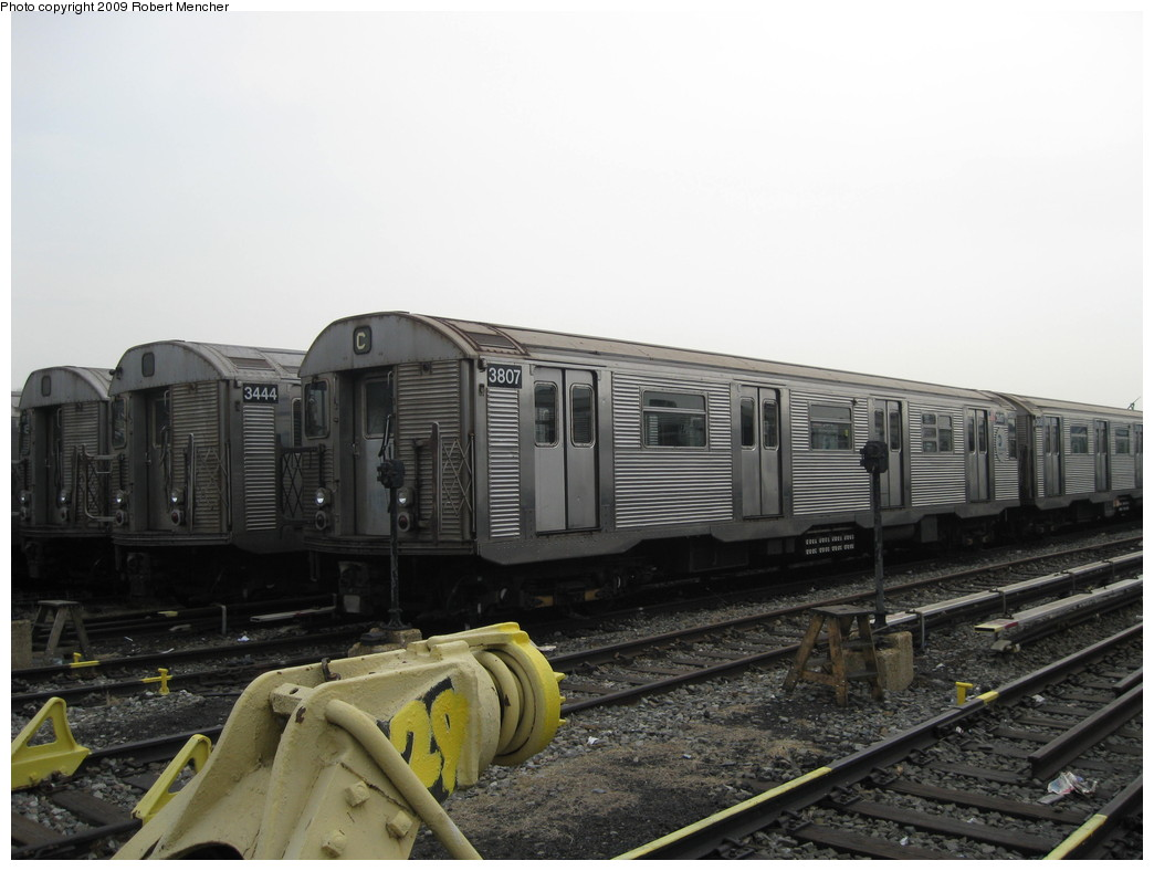 (172k, 1044x788)<br><b>Country:</b> United States<br><b>City:</b> New York<br><b>System:</b> New York City Transit<br><b>Location:</b> 207th Street Yard<br><b>Car:</b> R-32 (Budd, 1964)  3807/3444 <br><b>Photo by:</b> Robert Mencher<br><b>Date:</b> 3/7/2009<br><b>Viewed (this week/total):</b> 1 / 945