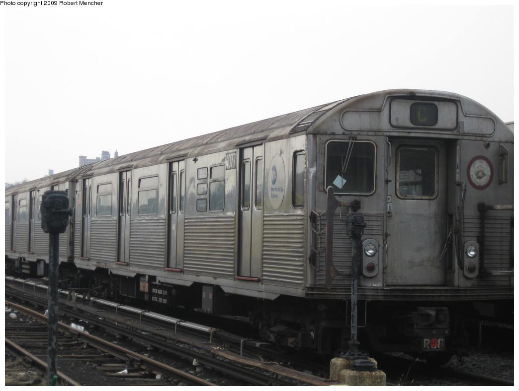 (151k, 1044x788)<br><b>Country:</b> United States<br><b>City:</b> New York<br><b>System:</b> New York City Transit<br><b>Location:</b> 207th Street Yard<br><b>Car:</b> R-38 (St. Louis, 1966-1967)  4077 <br><b>Photo by:</b> Robert Mencher<br><b>Date:</b> 3/7/2009<br><b>Viewed (this week/total):</b> 0 / 619