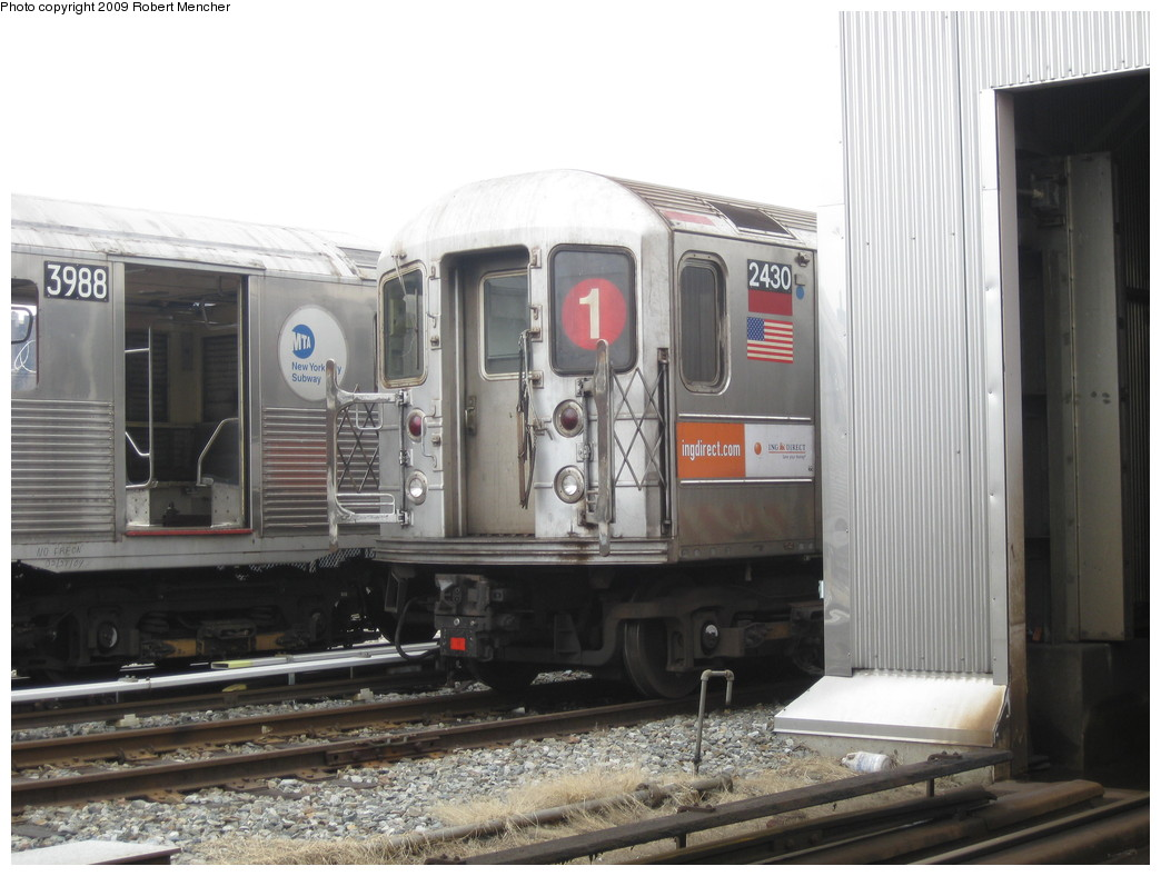 (189k, 1044x788)<br><b>Country:</b> United States<br><b>City:</b> New York<br><b>System:</b> New York City Transit<br><b>Location:</b> 207th Street Yard<br><b>Car:</b> R-62A (Bombardier, 1984-1987)  2430 <br><b>Photo by:</b> Robert Mencher<br><b>Date:</b> 3/7/2009<br><b>Viewed (this week/total):</b> 0 / 835