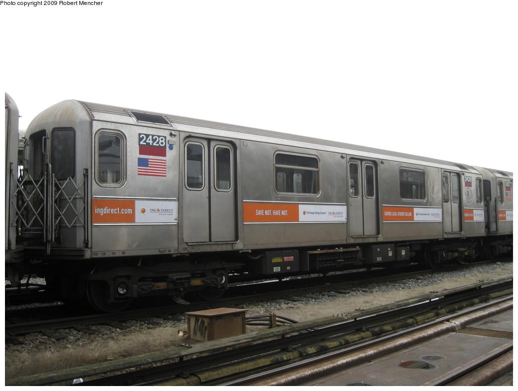 (159k, 1044x788)<br><b>Country:</b> United States<br><b>City:</b> New York<br><b>System:</b> New York City Transit<br><b>Location:</b> 207th Street Yard<br><b>Car:</b> R-62A (Bombardier, 1984-1987)  2428 <br><b>Photo by:</b> Robert Mencher<br><b>Date:</b> 3/7/2009<br><b>Viewed (this week/total):</b> 3 / 1030