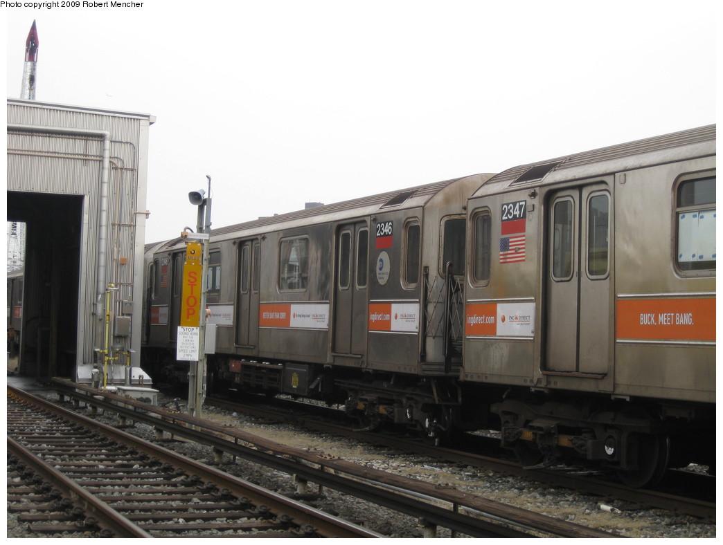 (175k, 1044x788)<br><b>Country:</b> United States<br><b>City:</b> New York<br><b>System:</b> New York City Transit<br><b>Location:</b> 207th Street Yard<br><b>Car:</b> R-62A (Bombardier, 1984-1987)  2346 <br><b>Photo by:</b> Robert Mencher<br><b>Date:</b> 3/7/2009<br><b>Viewed (this week/total):</b> 1 / 914