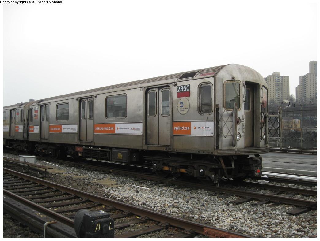(193k, 1044x788)<br><b>Country:</b> United States<br><b>City:</b> New York<br><b>System:</b> New York City Transit<br><b>Location:</b> 207th Street Yard<br><b>Car:</b> R-62A (Bombardier, 1984-1987)  2350 <br><b>Photo by:</b> Robert Mencher<br><b>Date:</b> 3/7/2009<br><b>Viewed (this week/total):</b> 0 / 811
