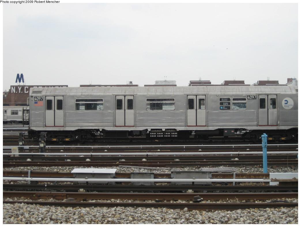 (186k, 1044x788)<br><b>Country:</b> United States<br><b>City:</b> New York<br><b>System:</b> New York City Transit<br><b>Location:</b> 207th Street Yard<br><b>Car:</b> R-38 (St. Louis, 1966-1967)  4097 <br><b>Photo by:</b> Robert Mencher<br><b>Date:</b> 3/7/2009<br><b>Viewed (this week/total):</b> 1 / 1080