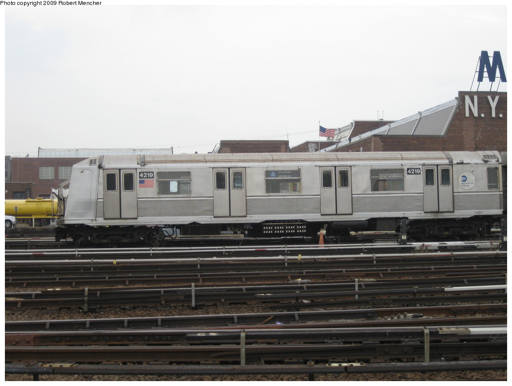 (171k, 1044x788)<br><b>Country:</b> United States<br><b>City:</b> New York<br><b>System:</b> New York City Transit<br><b>Location:</b> 207th Street Yard<br><b>Car:</b> R-40 (St. Louis, 1968)  4219 <br><b>Photo by:</b> Robert Mencher<br><b>Date:</b> 3/7/2009<br><b>Viewed (this week/total):</b> 0 / 873