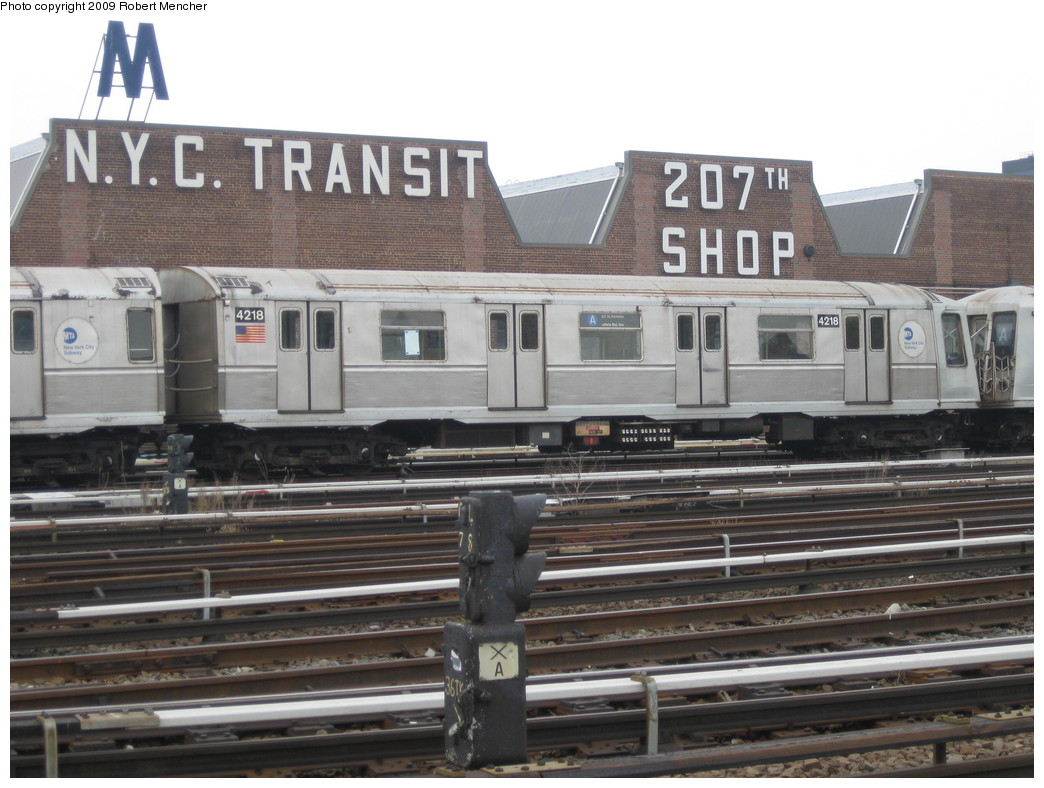 (208k, 1044x788)<br><b>Country:</b> United States<br><b>City:</b> New York<br><b>System:</b> New York City Transit<br><b>Location:</b> 207th Street Yard<br><b>Car:</b> R-40 (St. Louis, 1968)  4218 <br><b>Photo by:</b> Robert Mencher<br><b>Date:</b> 3/7/2009<br><b>Viewed (this week/total):</b> 0 / 896