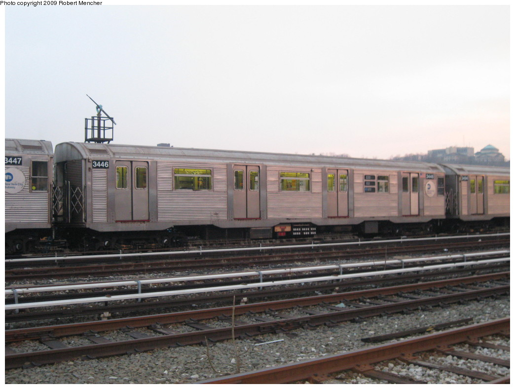 (180k, 1044x788)<br><b>Country:</b> United States<br><b>City:</b> New York<br><b>System:</b> New York City Transit<br><b>Location:</b> 207th Street Yard<br><b>Car:</b> R-32 (Budd, 1964)  3446 <br><b>Photo by:</b> Robert Mencher<br><b>Date:</b> 3/7/2009<br><b>Viewed (this week/total):</b> 2 / 843
