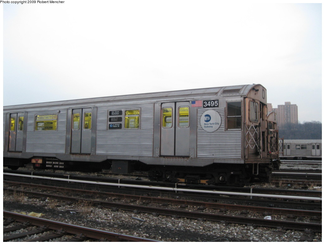 (164k, 1044x788)<br><b>Country:</b> United States<br><b>City:</b> New York<br><b>System:</b> New York City Transit<br><b>Location:</b> 207th Street Yard<br><b>Car:</b> R-32 (Budd, 1964)  3495 <br><b>Photo by:</b> Robert Mencher<br><b>Date:</b> 3/7/2009<br><b>Viewed (this week/total):</b> 4 / 938