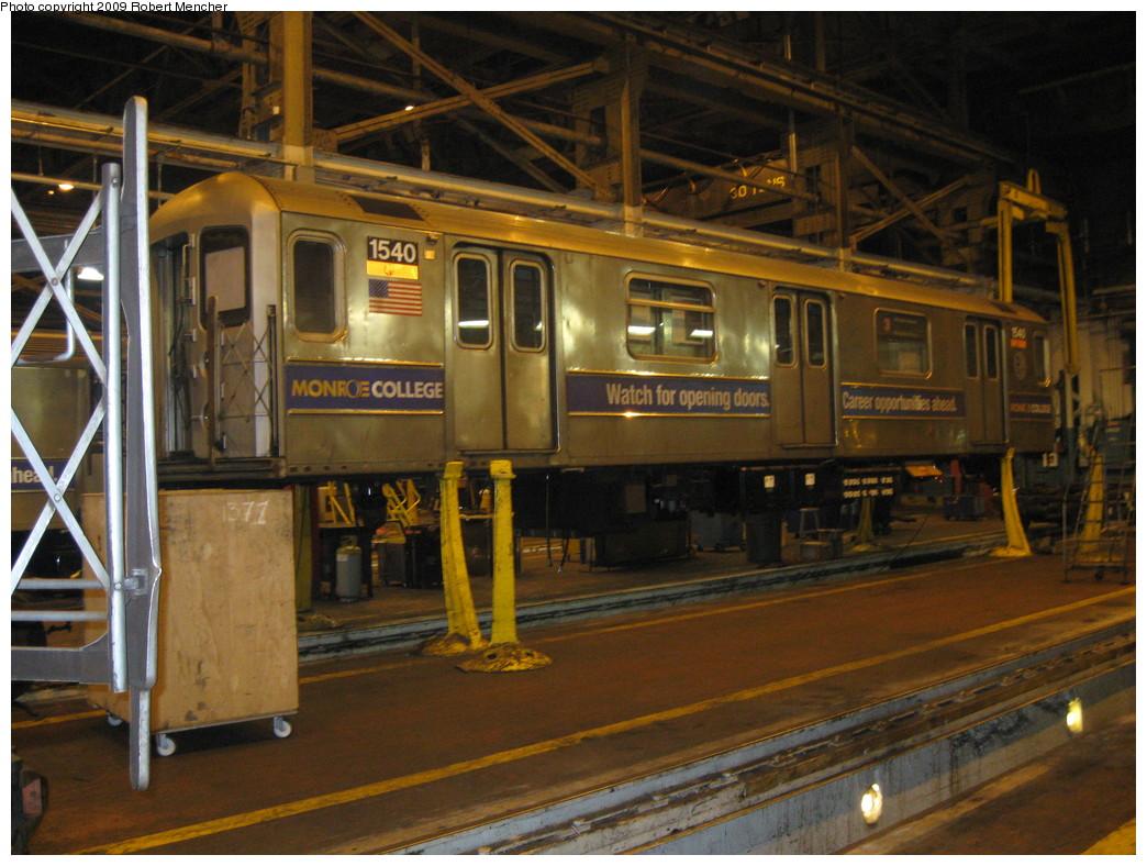 (242k, 1044x788)<br><b>Country:</b> United States<br><b>City:</b> New York<br><b>System:</b> New York City Transit<br><b>Location:</b> 207th Street Shop<br><b>Car:</b> R-62 (Kawasaki, 1983-1985)  1540 <br><b>Photo by:</b> Robert Mencher<br><b>Date:</b> 3/7/2009<br><b>Viewed (this week/total):</b> 3 / 756